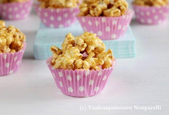 Vaaleanpunainen Nonparelli: Kinuskipopcornit