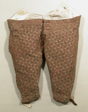 Breeches c.1760 - 1769. Canvas, Cotton, Linen, Polyester cotton, Polyester satin, Silk Velvet. Gloucestershire