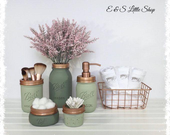 Mason Jar Bathroom Set with basket-Copper bathroom set-Farmhouse
