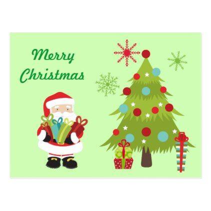 Christmas Tree and Santa w/Presents Postcard - christmas cards merry
