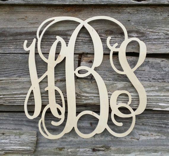 Wooden Monogram Unpainted Wood Monogram Wood Letters Monogram Wall Hangings Wooden Monogram Wood Monogram