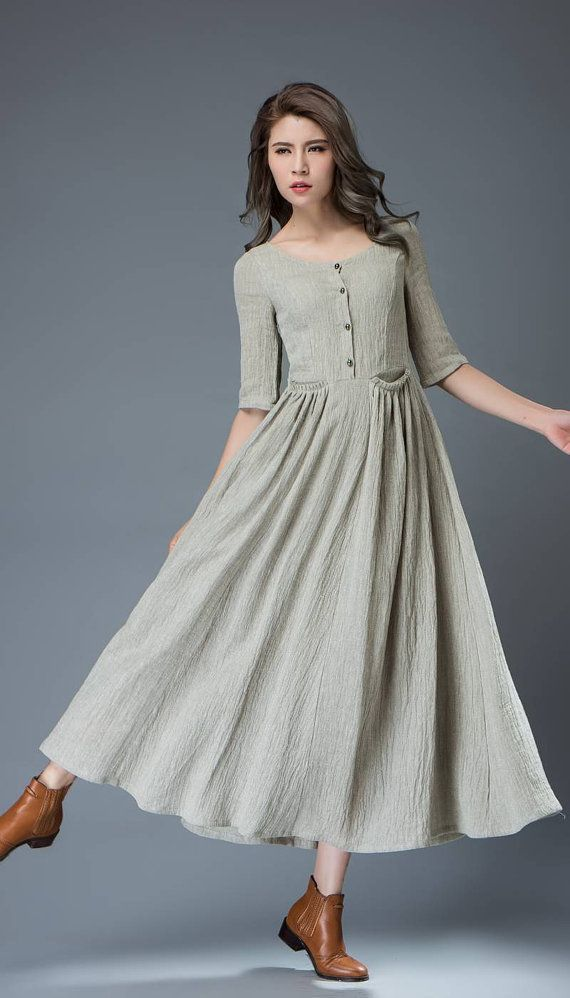 Casual Linen Dress - Pale Gray Everyday Comfortable Fit & Flare Long Maxi Dress with Half Sleeves and Button Front (C815) #purewhite