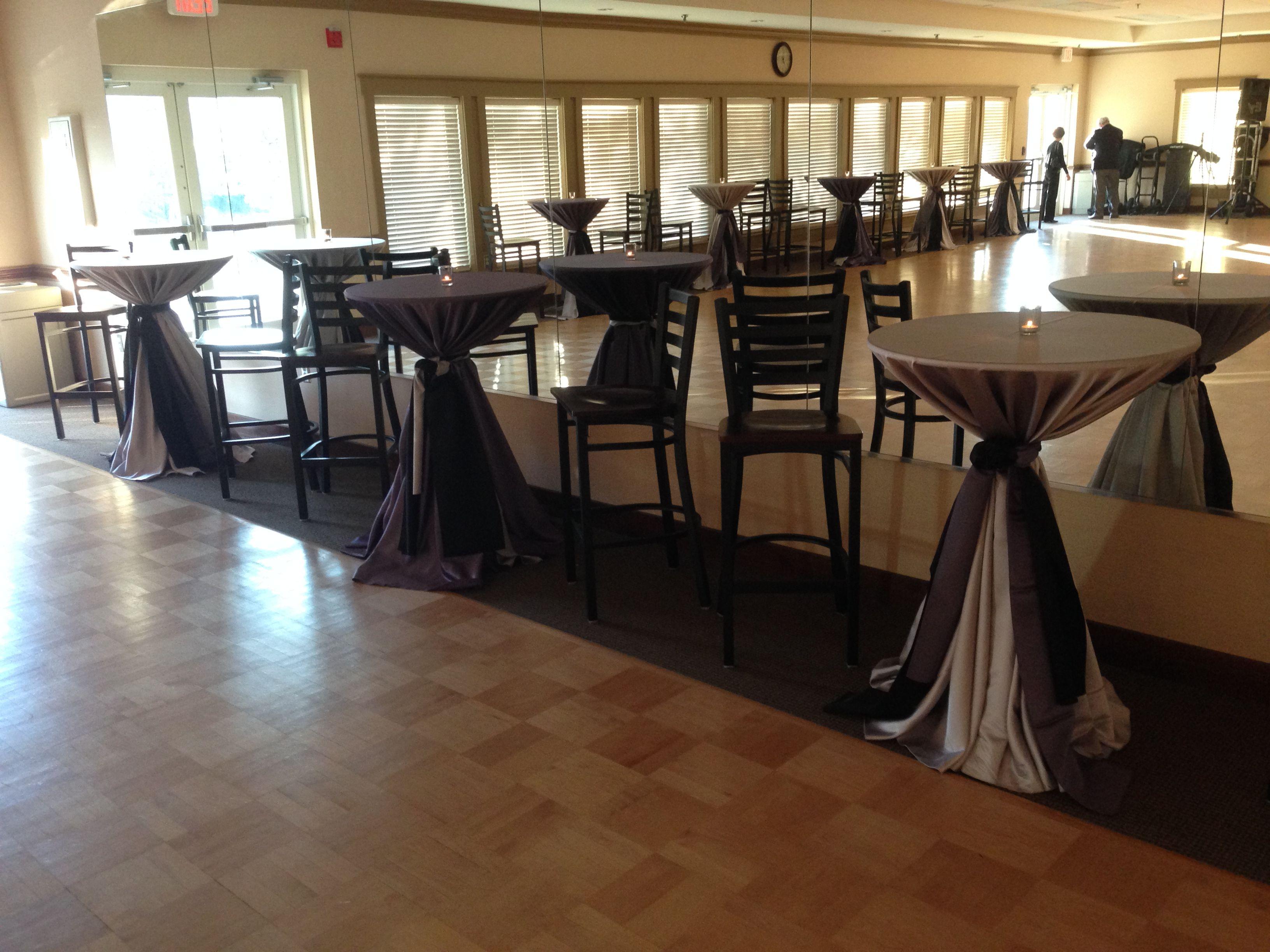 Atlanta Rental Wedding Reception Highboy Cocktail Table Linen Elegant Barstool Table Linen Rentals Corporate Event Planner Atlanta