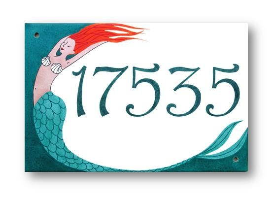 Address Plaque Mermaid House Numbers By Ayebardesigns Beach Signs