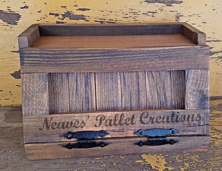 RECYCLED PALLET WOOD: This handcrafted breadbox is made of ...