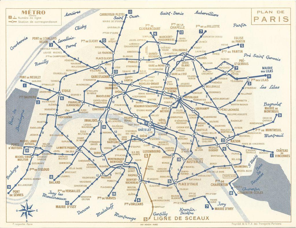 Paris Métro Map  Note Several Old Station Denominations - Washington dc map subway