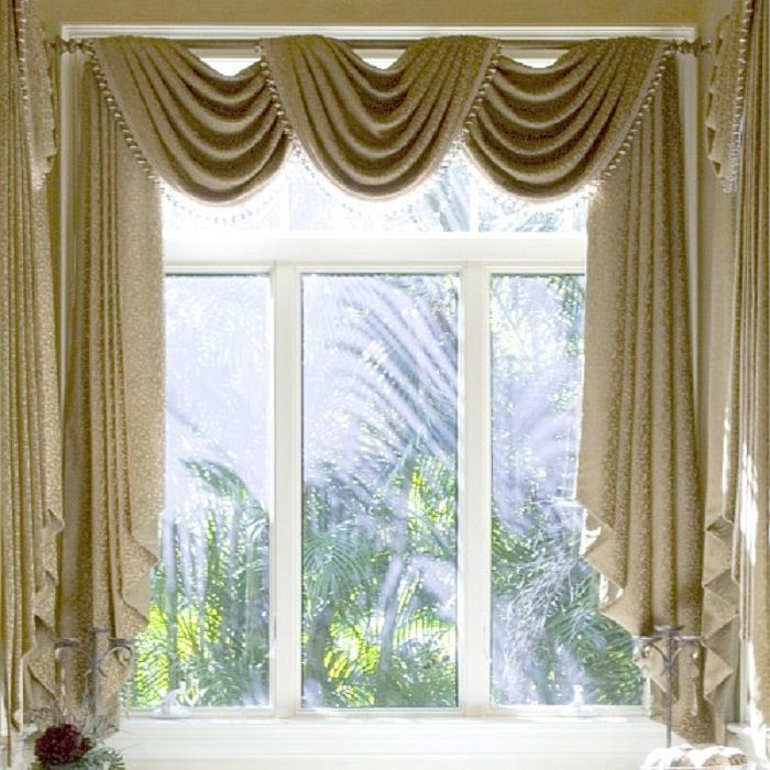 Elegant Curtain Ideas For Large Windows In Various Designs And Colors With  Marvelous Photographs: Elegant · Swag CurtainsLiving ... Amazing Pictures