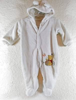 74fb54e97 3-6 Months White Winnie the Pooh Infant Hooded Footed Sleeper Soft ...