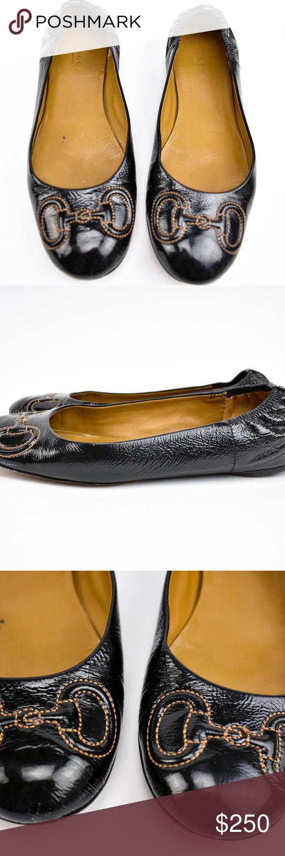 63151c19e GUCCI Black Leather & Horsebit Ballet Flats Sz 7.5 Condition: pre-owned  (