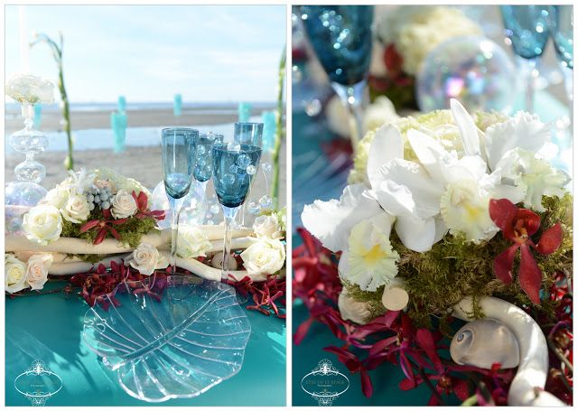 Vera Wang Red wedding Dress Spring 2013. Benjamin Adams London Crystal Shoes, Damiani Juliette Rose Gold Jewellery,   Beach Wedding, surf board table, blue glass candelabra, turquoise, blue & red wedding, LD Decor, Celebrate- LA, red hydrangea, red orchid, succulent bouquet. Eyes Of Le Stage Photography Perfect Wedding Magazine www.eyesoflestage.com Canadian Okanagan Wedding Photographer's Blog