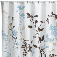 brown and white shower curtain. Reflections Floral Fabric Shower Curtain The foliage silhouette of this shower  curtain in shades blue