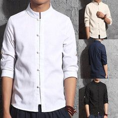 f177c0820 Designer Vintage Chinese Style Linen Stand Collar Casual Loose Shirt for Men  - NewChic Mobile