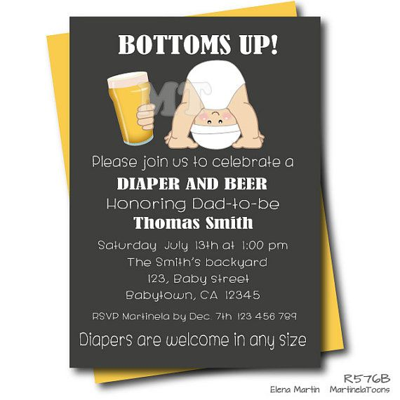 Beer and Diaper Baby Shower Invitation by MartinelaToons on Etsy