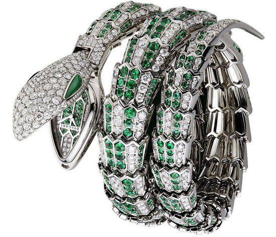 Bulgari Serpenti High Jewelry Watch  18K white gold, diamonds and emeralds