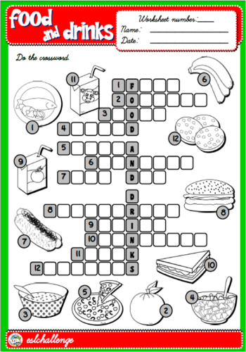 FOOD AND DRINKS WORKSHEET AVAILABLE IN PACK 8, 4TH