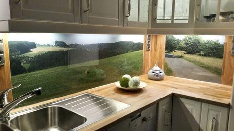 Küchenrückwand aus ESG-Glas mit eigenem Motiv Küche Pinterest - wandpaneele küche glas
