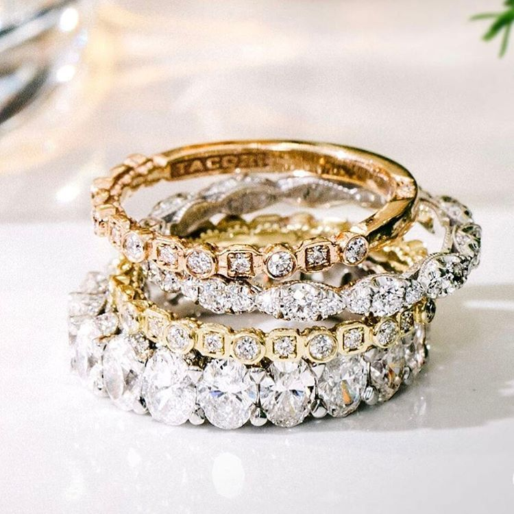 Sometimes More Is More With Wedding Baby And Anniversary Bands Begin Your Tacori Ring Stack At Merv Engagement Rings Anniversary Bands For Her Jewelry Website