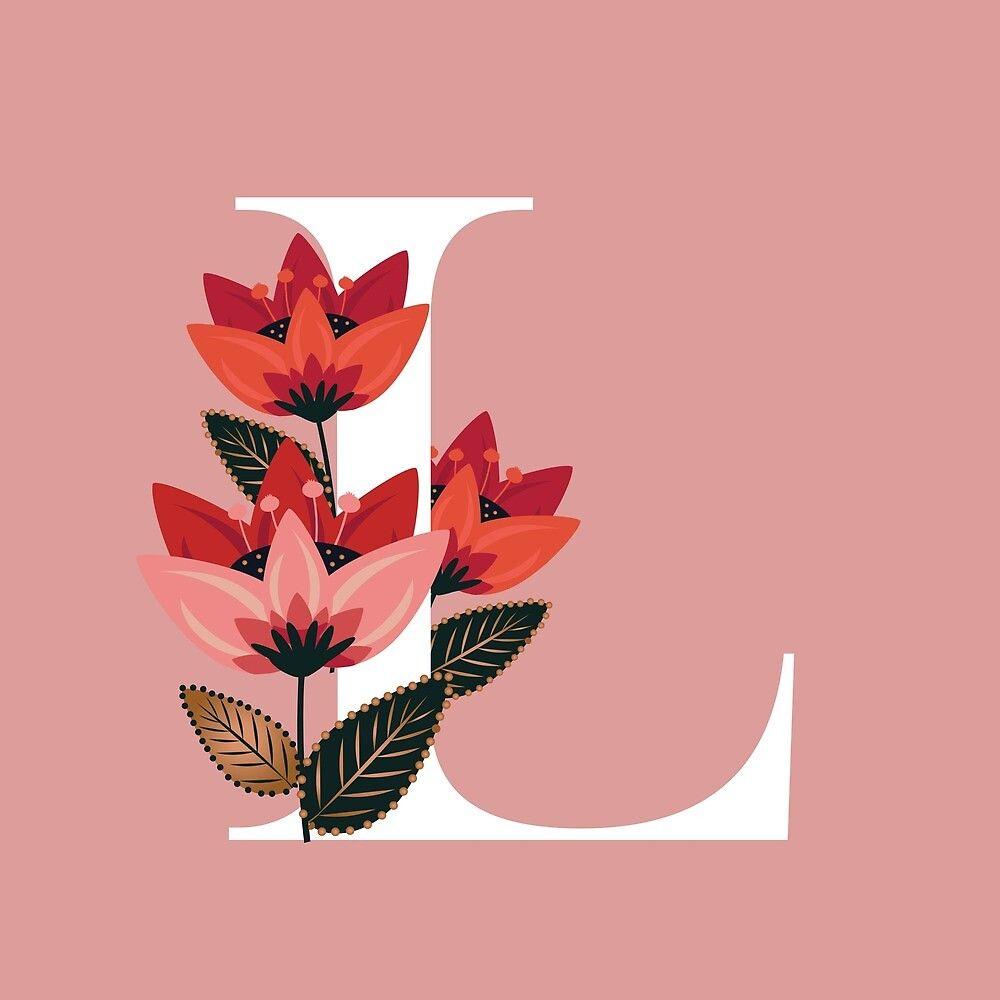 Venice Floral Monogram L By Werlangpaper Redbubble Alphabet Wallpaper Graphic Wallpaper Floral Monogram