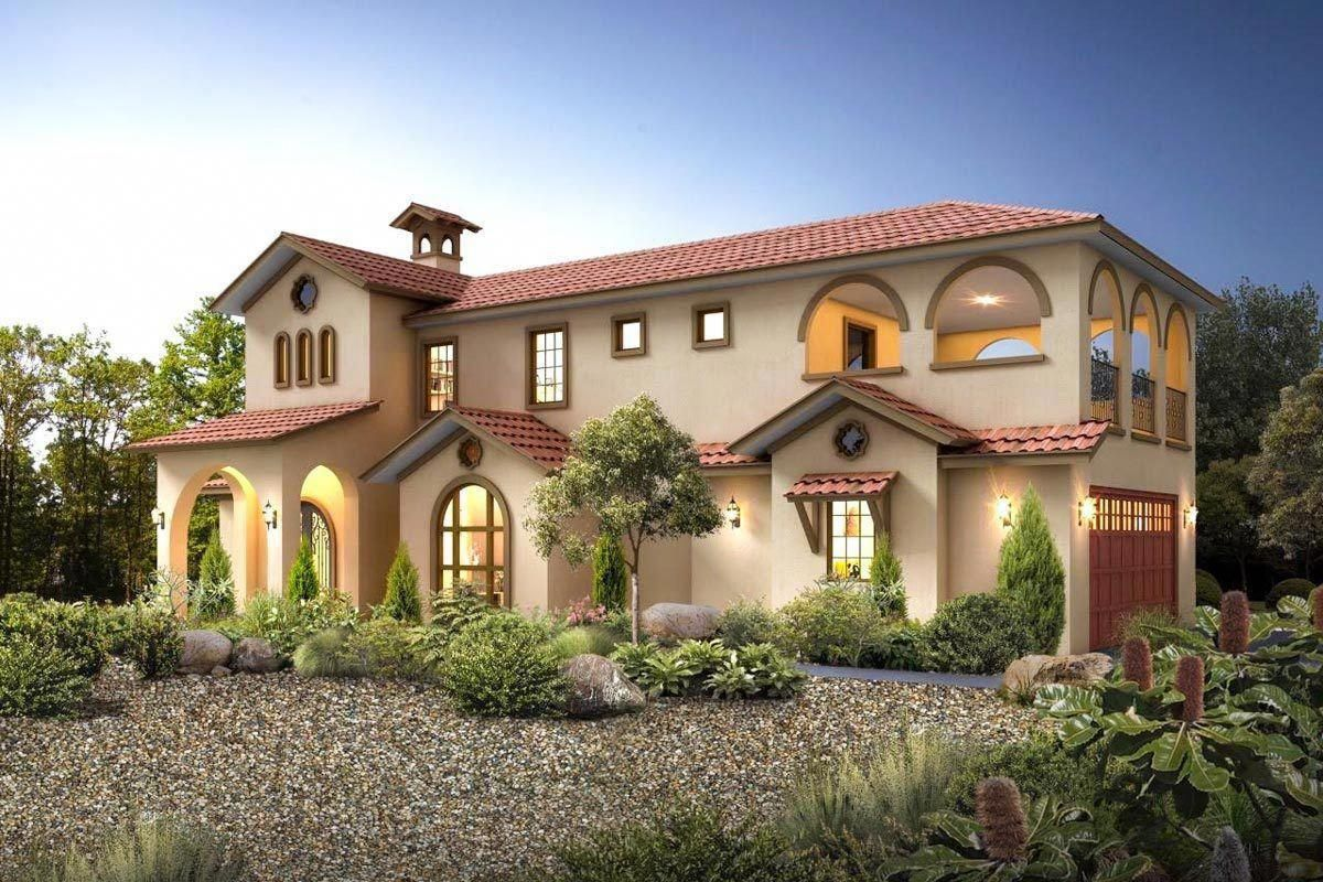 Exciting Mediterranean House Plan With Upper Terrace Deck 430025ly Architec Mediterranean Homes Exterior Mediterranean House Plan Mediterranean House Plans
