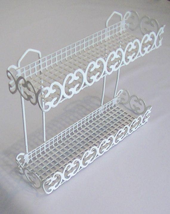 Vintage White Plastic Coated Wire Spice Rack Shelf | Rack shelf ...