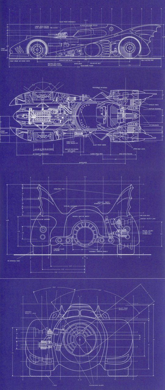 batmobile 1989 blueprints stuff batman batman