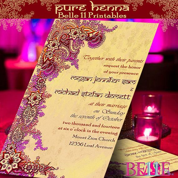 Printable invitation free rsvp custom diy by for Free printable hindu wedding invitations