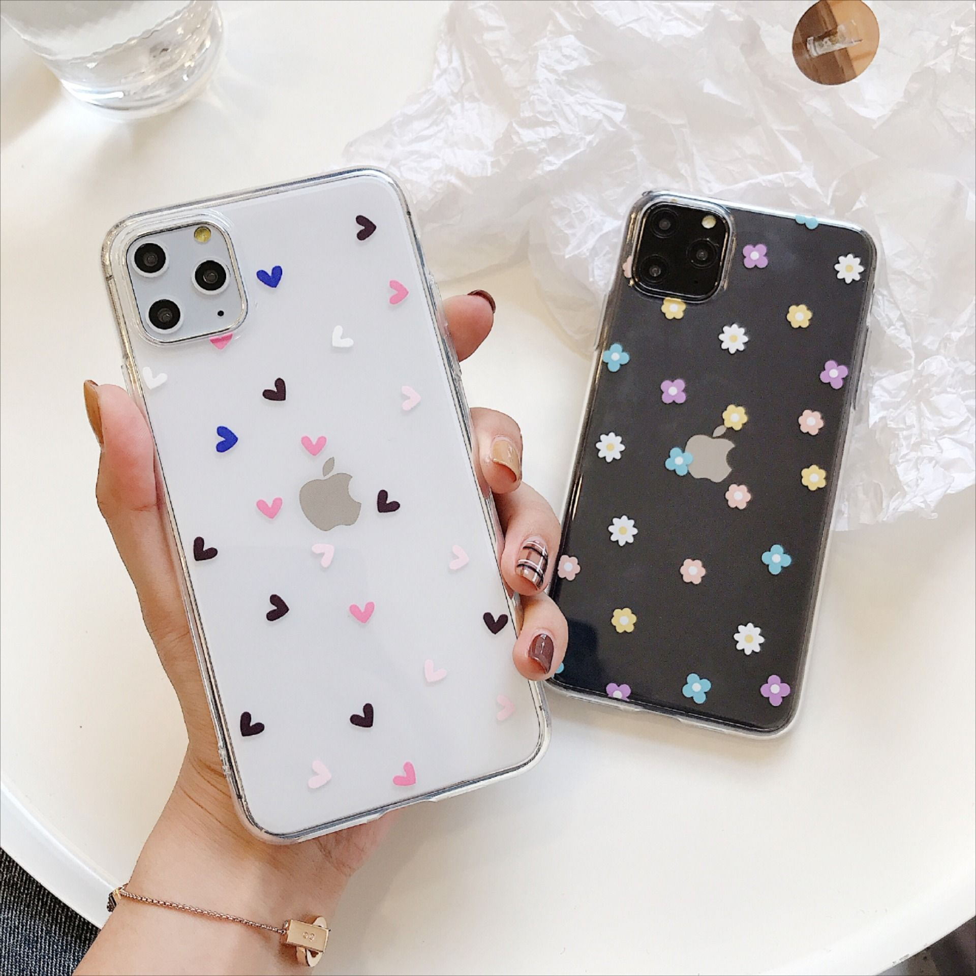 Flower love heart phone cases for iphone 11 x xs max xr 6