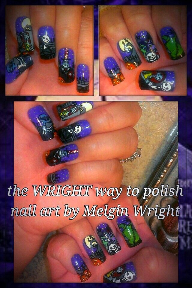 Nightmare before Christmas- Hand painted nail art. Painted with Nail ...