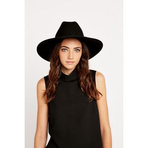 Black Felt High Brim Hat