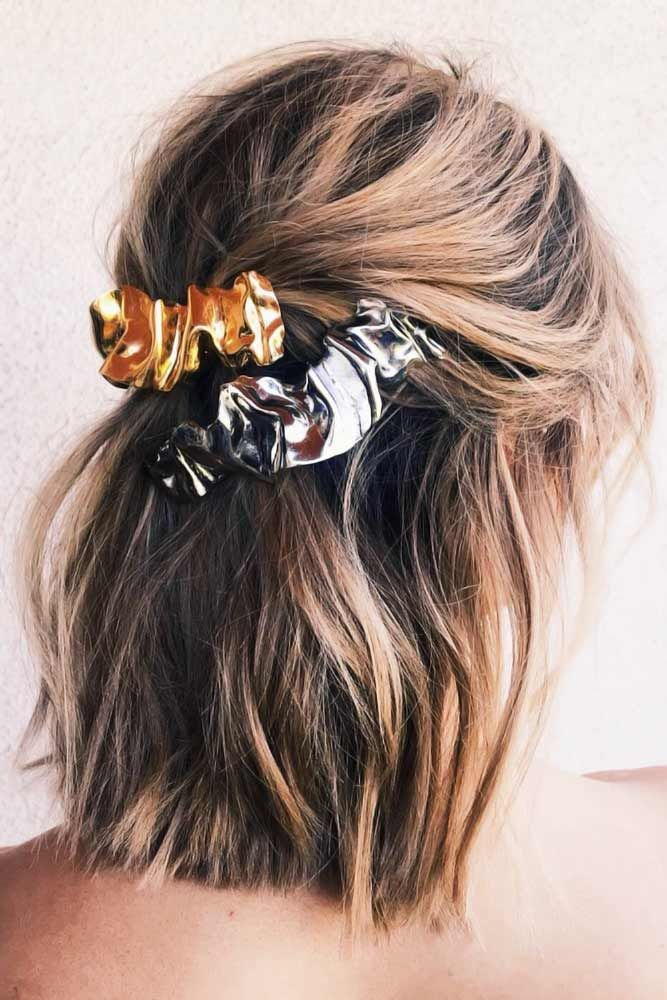 Adorable Hair Scrunchies And Styles That You Can Do With Them | Tied up hairstyles, Cute ...