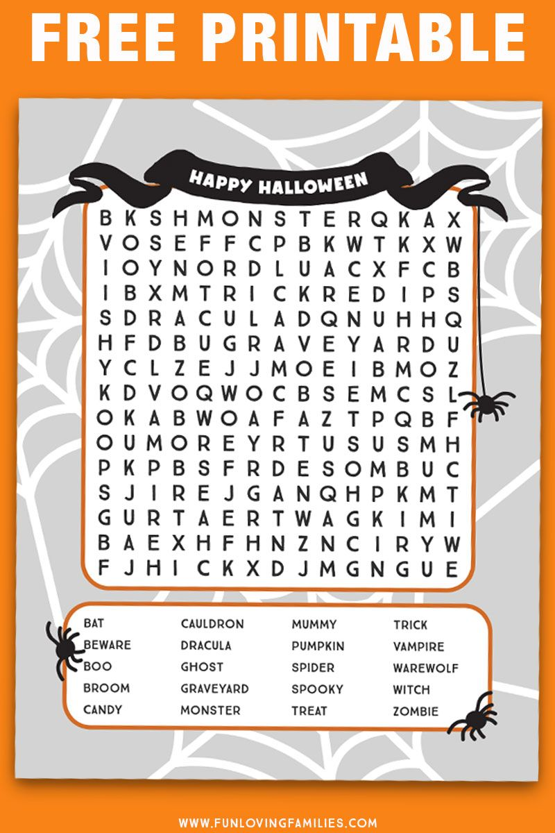 Halloween Word Search Printables | Pumpkin ideas | Pinterest ...