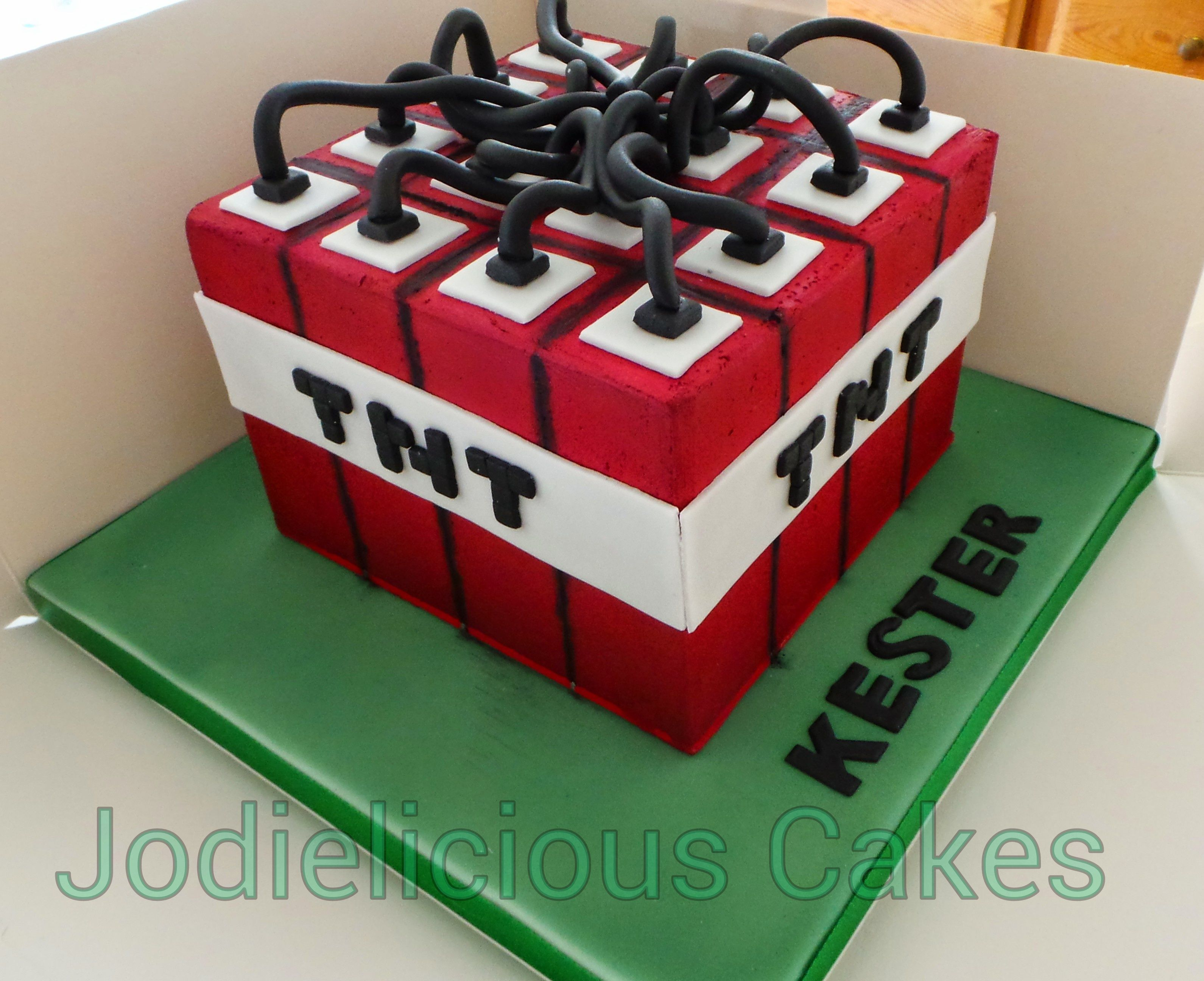 Minecraft Tnt Cake Airbrushed Chocolate Ganached Cake Minecraft
