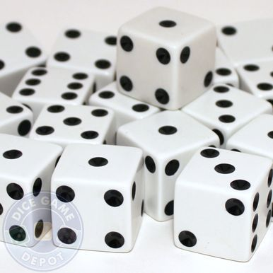 25mm Opaque White Dice - Set of 100
