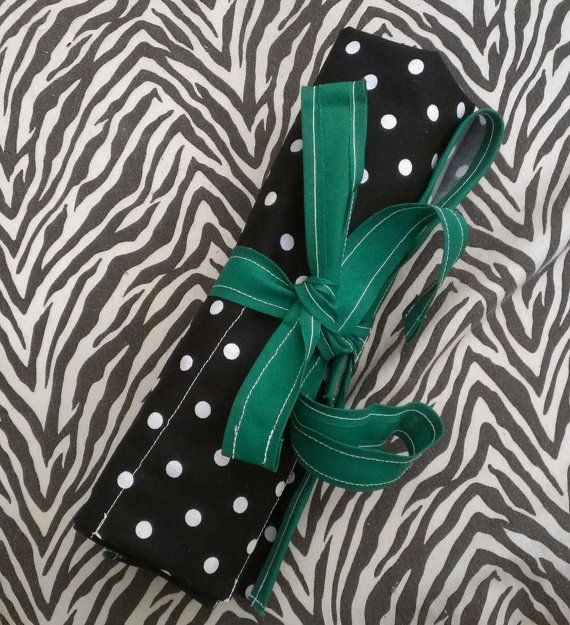 Green Black and White POLKA DOT Make up Brush by twistedviridiana