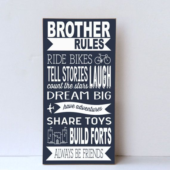 Brother Rules Wood Sign Brother Sign Playroom Wall Art Etsy Kids Room Paint Playroom Wall Sibling Wall Art