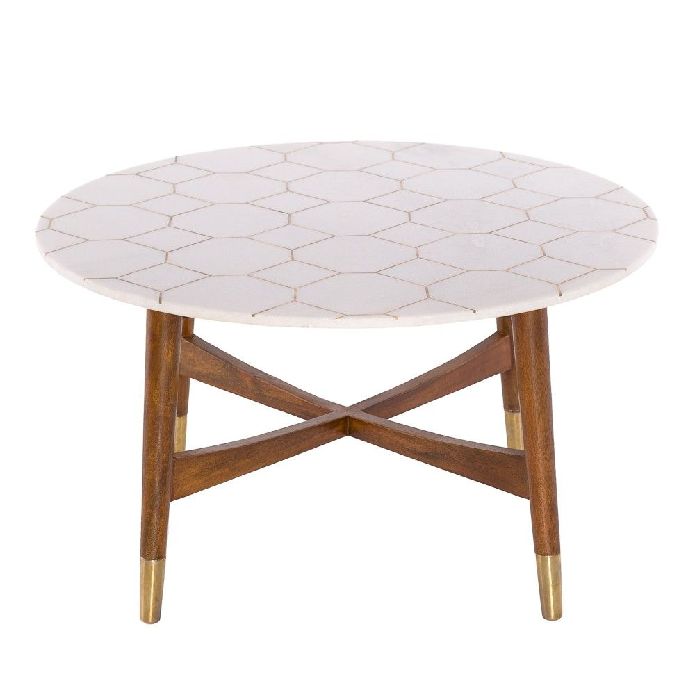 Trent white marble and brass inlay coffee table marble White marble coffee table