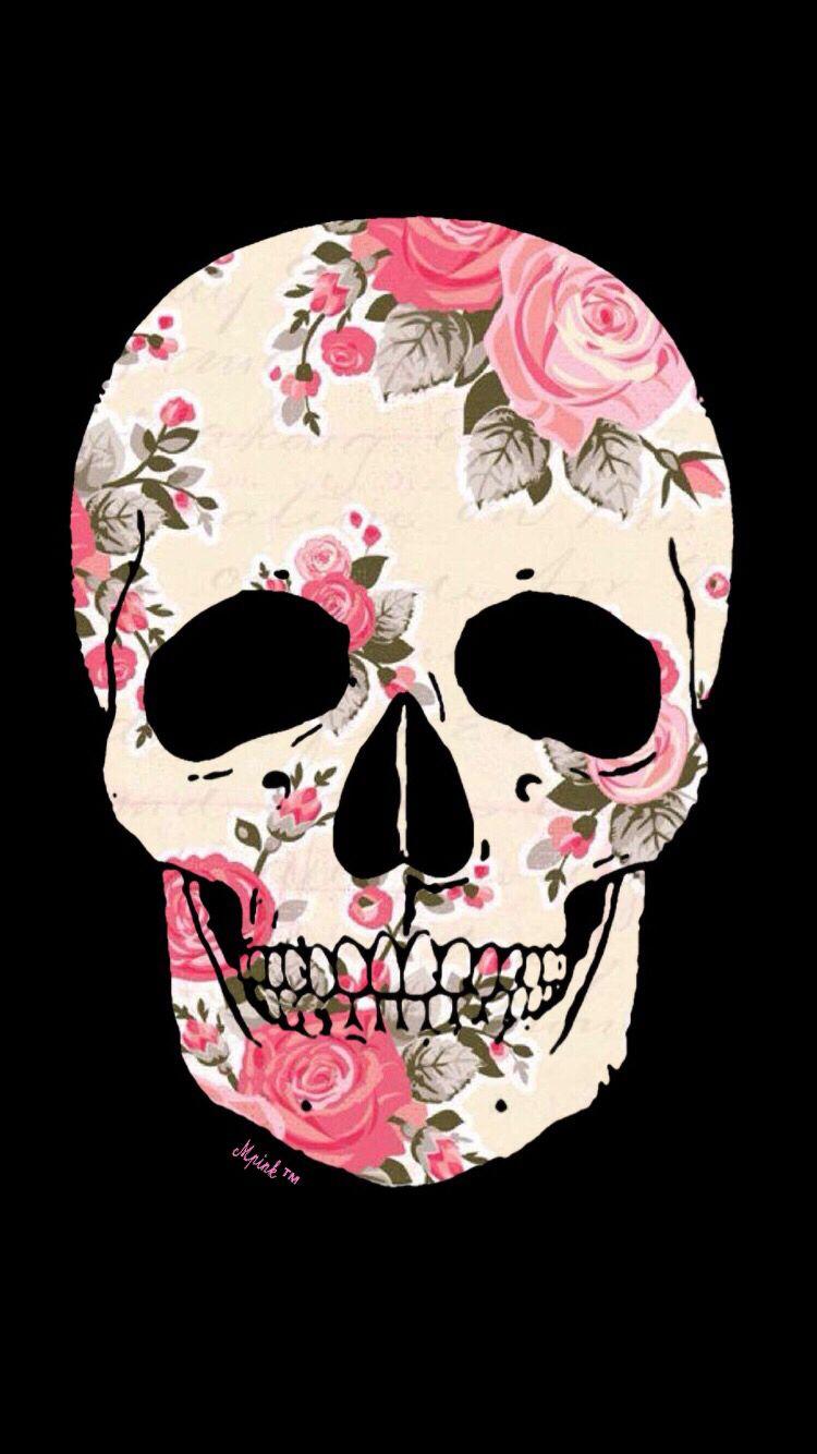 Skull Floral Wallpaper Skull Wallpaper Skull Artwork Skull