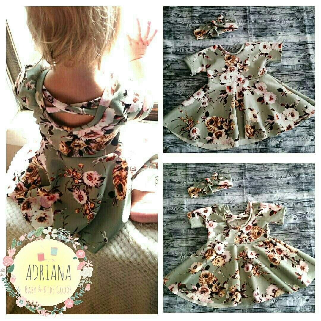 9-12 Month Floral Baby Easter Dress Flower Girl Dressing Headband Set Twirl Pastel