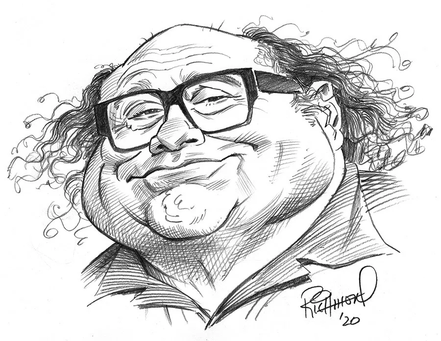 Tom S Daily Coronacature Danny Devito Caricature Sketch Caricature Drawing Celebrity Drawings