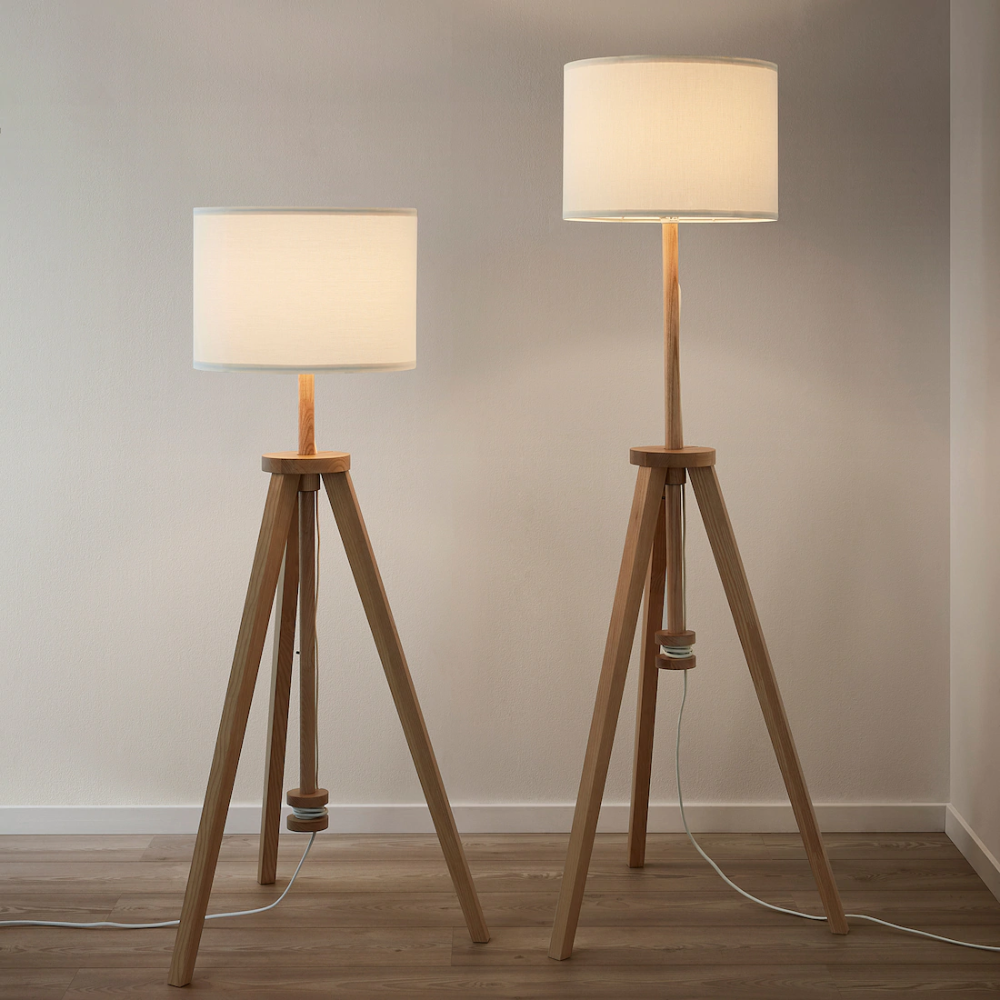 Lauters Floor Lamp With Led Bulb Ash White Ikea In 2020 Floor Lamp Ikea Floor Lamp Lamp
