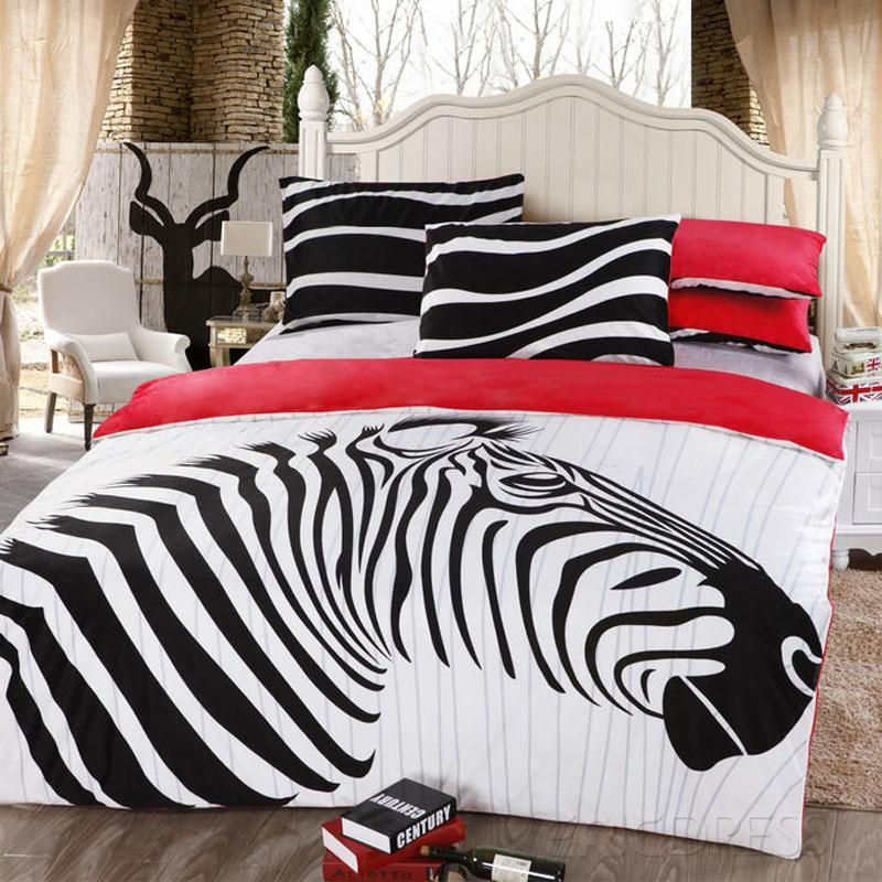 Chic Zebra Velvet 4 Piece Queen Size Duvet Covers Red Myhomedecor The Zebra Stripe Pattern Give A Person A Kind Of Pure And Fresh Clean Comfortable Edredons