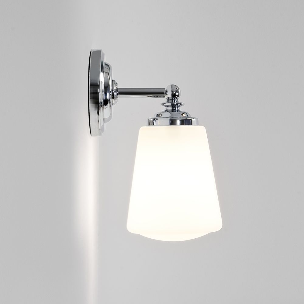 The anton bathroom wall light is finished in polished chrome and is the anton bathroom wall light is finished in polished chrome and is fitted with a white mozeypictures Choice Image
