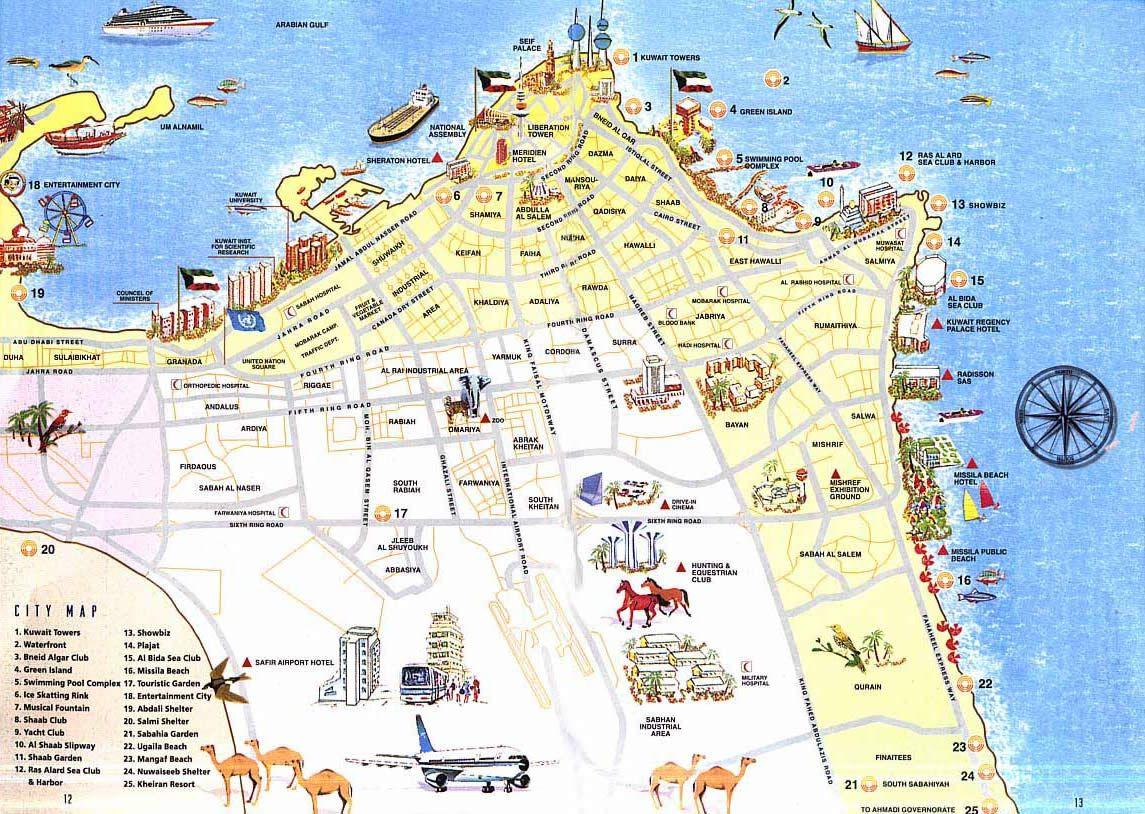 Detailed tourist map of Kuwait. Kuwait detailed tourist