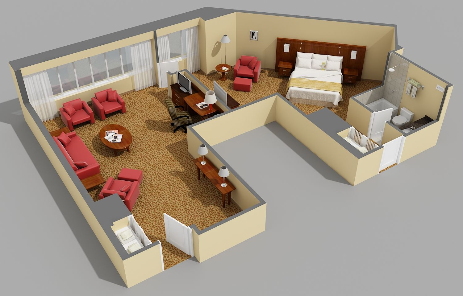 3d floor plans used for hotel marketing room hotel for Studio apartment design 3d