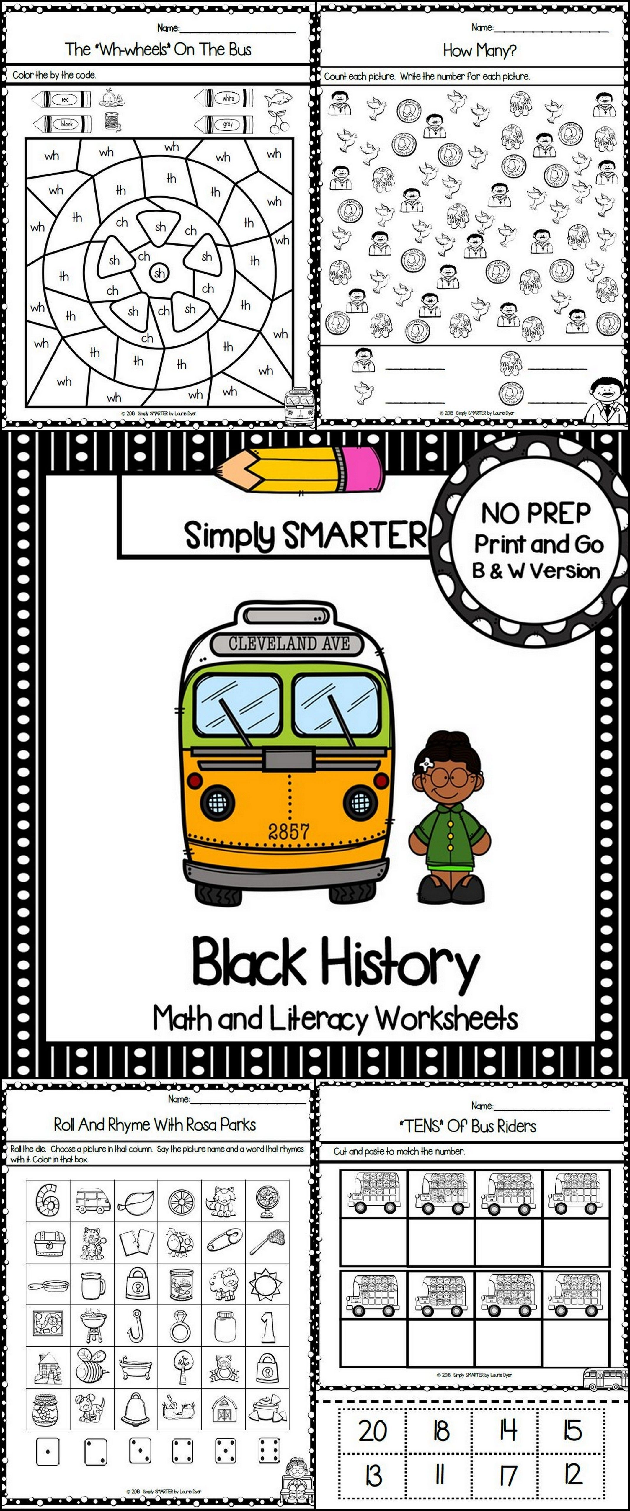 Black History Themed Kindergarten Math And Literacy