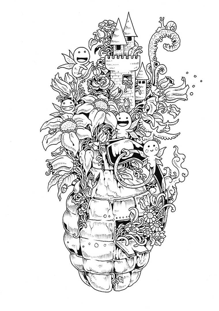 Doodle Invasion Un Nouveau Livre De Coloriage Pour Les Adultes Image