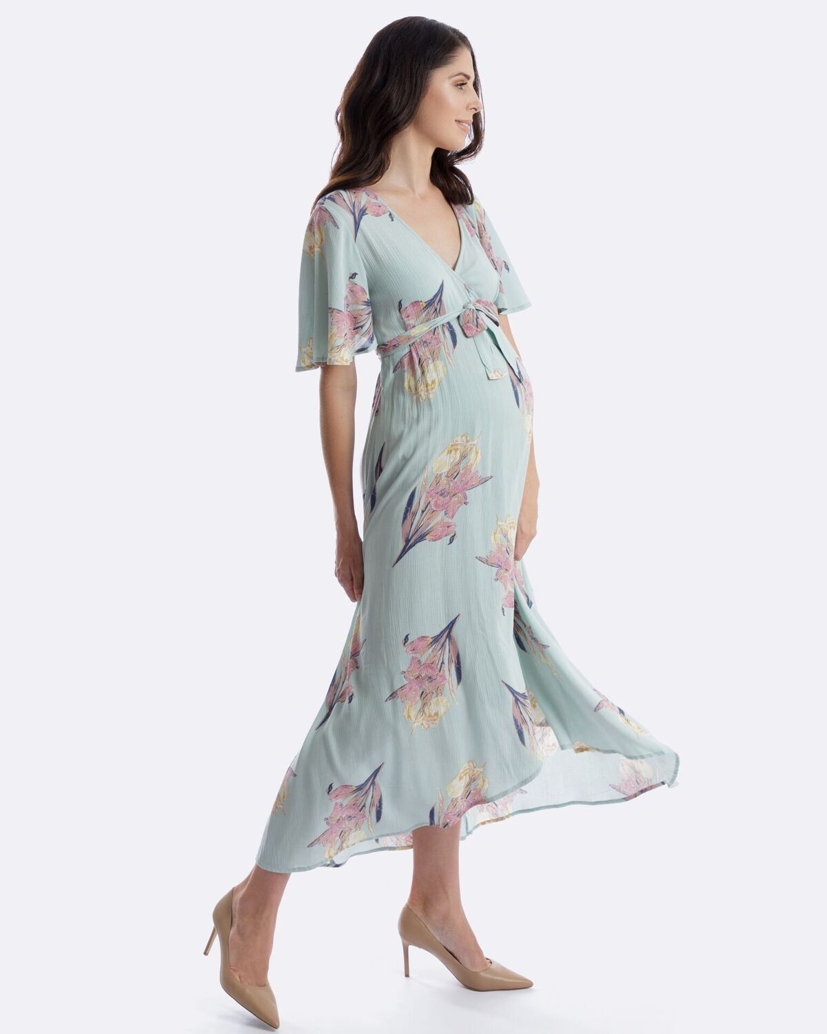 Swish In Our Harlow Maternity Wrap Dress In Mint Dresses Maternity Wrap Dress Wrap Dress [ 1500 x 1200 Pixel ]