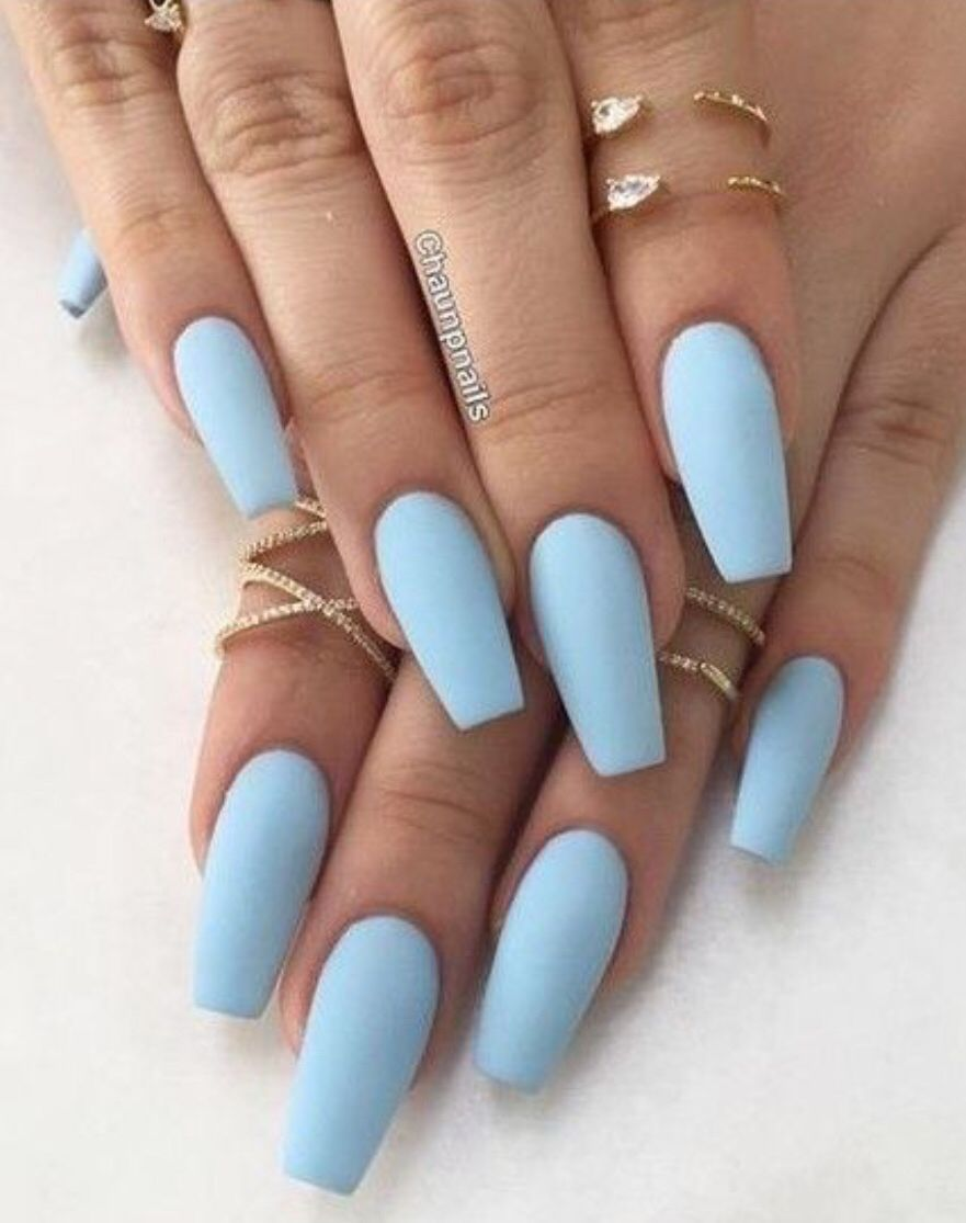 Blue Matte Nails Acrylic