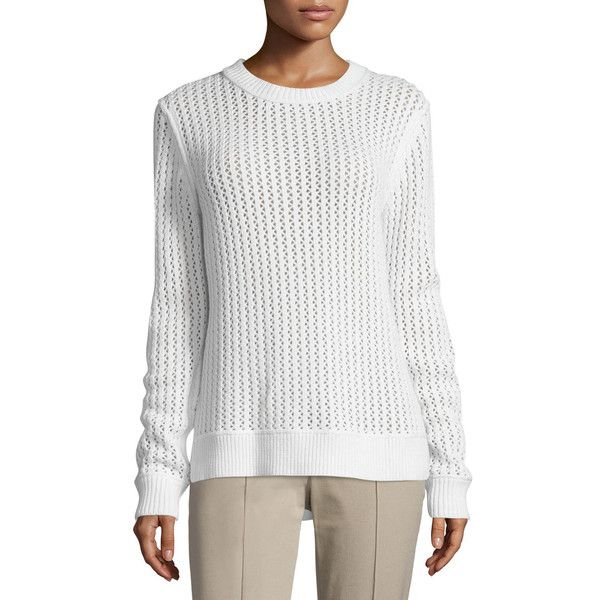 Michael Kors Collection Long-Sleeve Zigzag-Ribbed Sweater ($370) ❤ liked on Polyvore featuring tops, sweaters, white, michael kors, zig zag sweater, ribbed sweater, white pullover and long sleeve tops