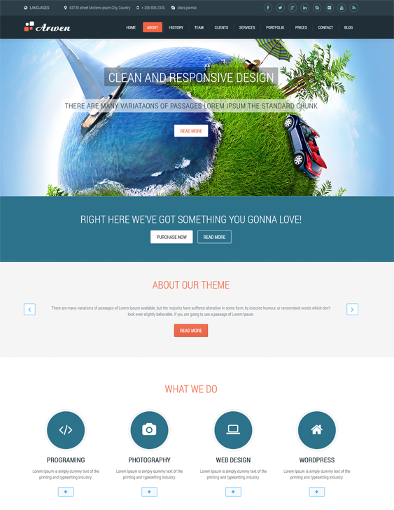 This one page Joomla theme includes a responsive layout, RTL language support, 4 slideshows, Font Awesome icons, Bootstrap integration, 10 predefined color schemes, a timeline blog, animated pricing tables, and more.